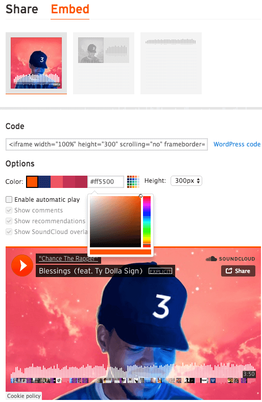 custom soundcloud embed player