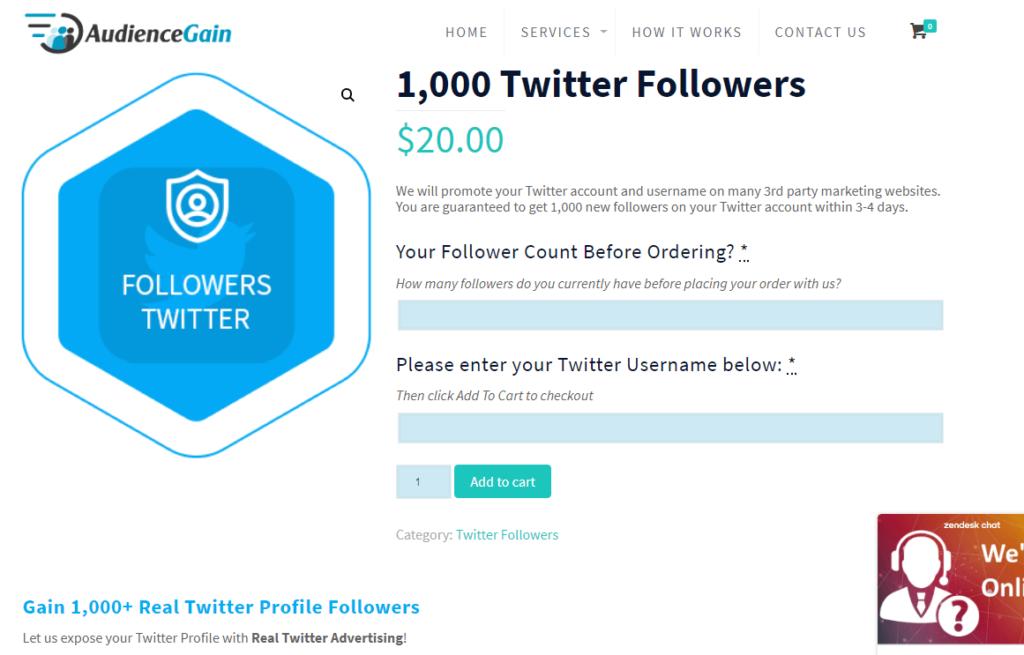 Audience Gain Buy 1000 Twitter followers (1)