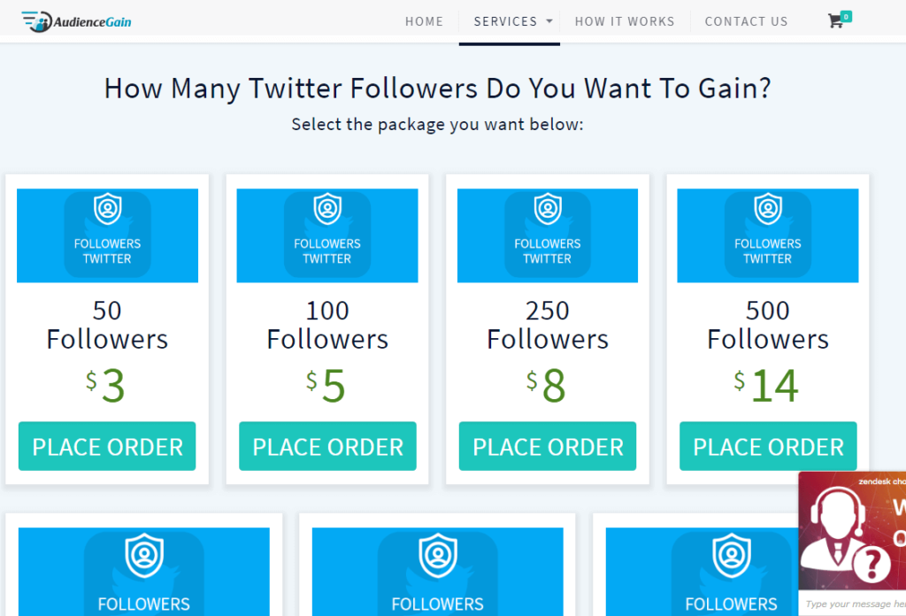 Audience Gain Twitter Followers service page