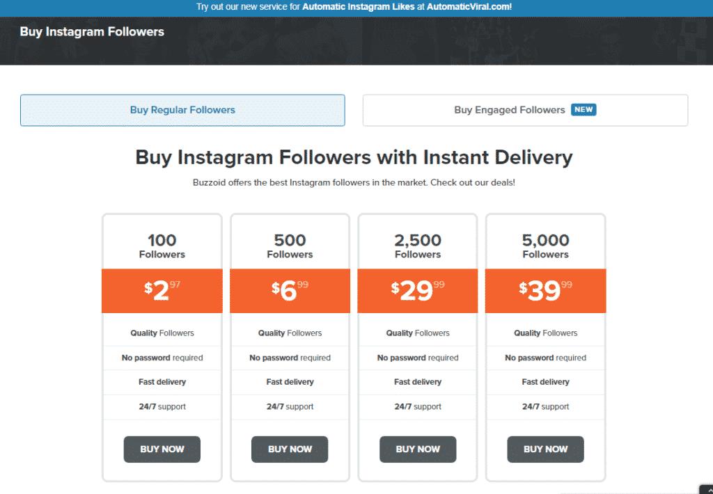 Buzzoid Instagram Followers service page