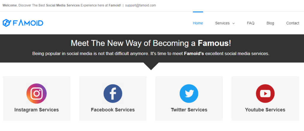 Famoid services homepage