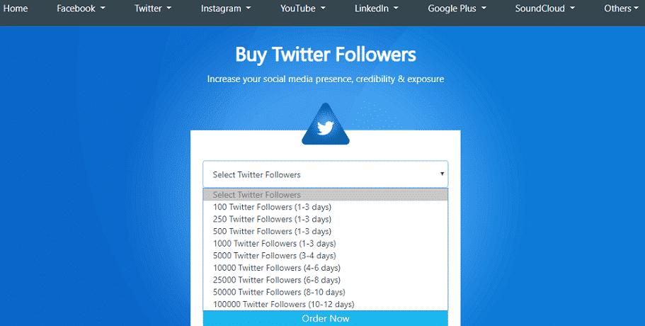 GetAFollower Twitter followers service page