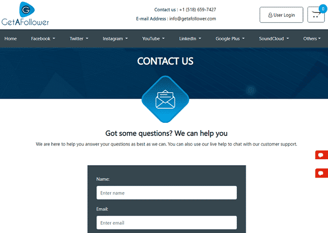 GetAFollower contact page