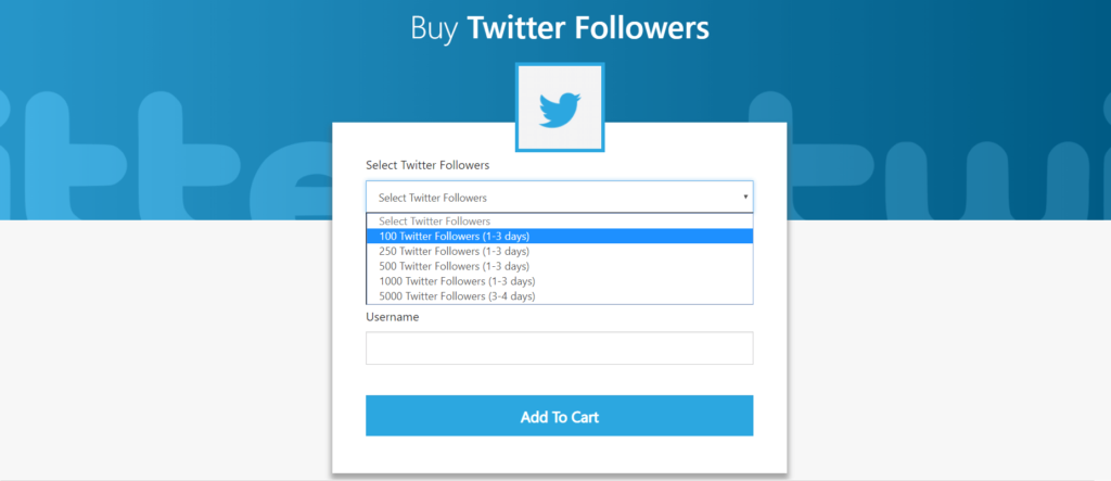 MediaMister Twitter Followers Service Page