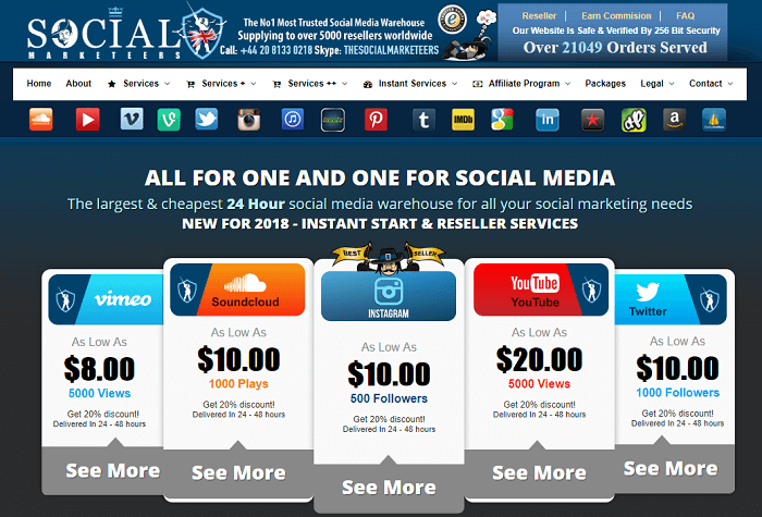 Social Marketeers services homepage