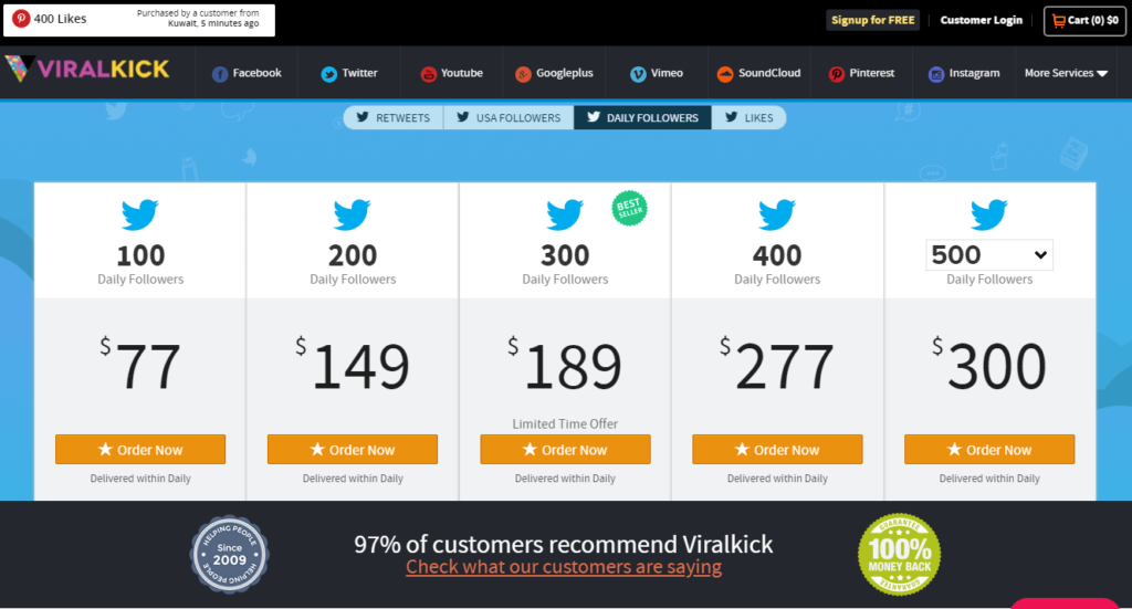 ViralKick Twitter Followers service page